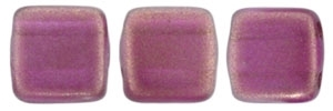 CzechMates Two Hole Tile 6mm - CZTWN06-29260 - Halo - Madder Rose - 25 Beads