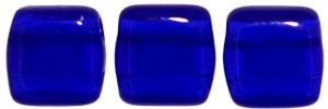 Two Hole Tile 6mm Cobalt 25 Bead Strand