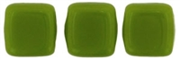 Two Hole Tile 6mm Opaque Olive 25 Bead Strand