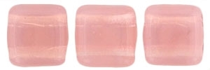 CzechMates Two Hole Tile 6mm - CZTWN06-71010 - Milky Pink - 25 Beads
