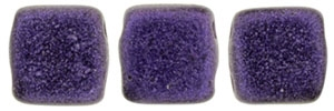 CzechMates Two Hole Tile 6mm - CZTWN06-79021 - Metallic Suede - Purple - 25 Beads