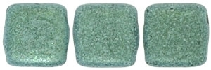 CzechMates Two Hole Tile 6mm - CZTWN06-79051 - Metallic Suede - Light Green - 25 Beads