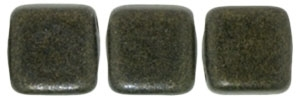 CzechMates Two Hole Tile 6mm - CZTWN06-79082 - Metallic Suede - Dark Green - 25 Beads