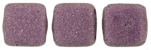 CzechMates Two Hole Tile 6mm - CZTWN06-79086 - Metallic Suede - Pink - 25 Beads