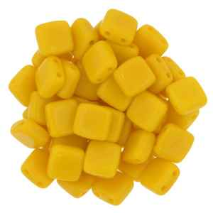 CzechMates Two Hole Tile 6mm Sunflower Yellow 25 Beads