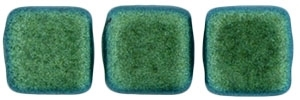 CzechMates Two Hole Tile 6mm - CZTWN06-94104 - Polychrome - Aqua Teal - 25 Beads