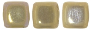 CzechMates Two Hole Tile 6mm - CZTWN06-BI13070 - Brown Iris - French Beige - 25 Beads