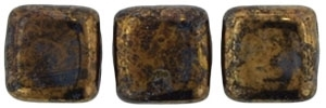 CzechMates Two Hole Tile 6mm Jet- Bronze Picasso 25 Beads