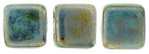 CzechMates Two Hole Tile 6mm Bronze Picasso - Turquoise 25 Beads