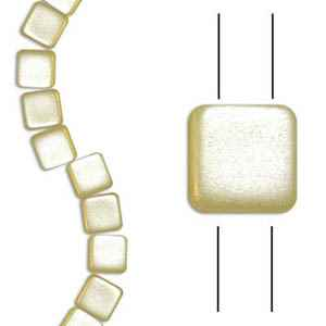 Czech Two Hole Tile 6mm - CZTWN06-CRM - Airy Pearl Cream - 25 Beads
