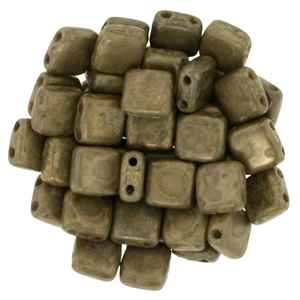 CzechMates Two Hole Tile 6mm - CZTWN06-CT12010  - Milky Caramel - Bronze Picasso - 25 Beads