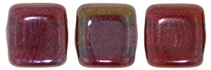 CzechMates Two Hole Tile 6mm - CZTWN06-E9008 - Siam Ruby - Vega - 25 Beads