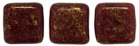 CzechMates Two Hole Tile 6mm Oxblood - Gold Marbled 25 Beads