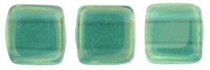 CzechMates Two Hole Tile 6mm - CZTWN06-LR52060 - Luster Iris - Atlantis Green - 25 Beads
