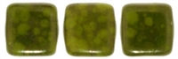CzechMates Two Hole Tile 6mm Opaque Olive - Moon Dust 25 Beads