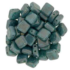 CzechMates Two Hole Tile 6mm Persian Turquoise - Moon Dust 25 Beads