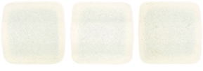 CzechMates Two Hole Tile 6mm - CZTWN06-MSG0100 - Sueded Gold Milky White - 25 Beads