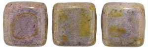 CzechMates Two Hole Tile 6mm Luster- Opaque Gold/Smoky Topaz 25 Beads