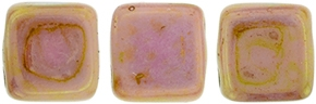 Two Hole Tile 6mm Luster Opaque Rose/Gold Topaz 25 Bead Strand