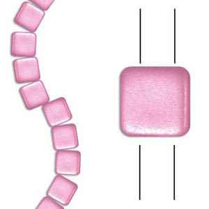 Czech Two Hole Tile 6mm - CZTWN06-PNK - Airy Pearl Pink - 25 Beads