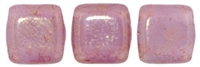 Two Hole Tile 6mm Pink/Topaz Luster - Milky Alexandrite 25 Bead Strand