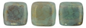 CzechMates Two Hole Tile 6mm - CZTWN06-PT61310 - Mikly Turquoise - Pink/Topaz Luster - 25 Beads