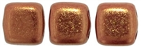 CzechMates Two Hole Tile 6mm - CZTWN06-R14415 - Bronze Luster Iris - Opaque Red - 25 Beads
