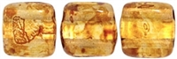CzechMates Two Hole Tile 6mm Picasso - Crystal 25 Beads