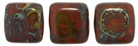 Two Hole Tile 6mm Picasso UMBER 25 Bead Strand