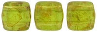 CzechMates Two Hole Tile 6mm - CZTWN06-T5023  - Olivine - Picasso - 25 Beads