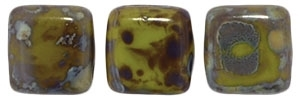 CzechMates Two Hole Tile 6mm Picasso - Opaque Olive 25 Beads