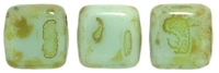 CzechMates Two Hole Tile 6mm Picasso - Opaque Pale Turquoise 25 Beads