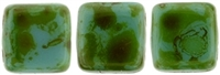 CzechMates Two Hole Tile 6mm Picasso - Persian Turquoise 25 Beads