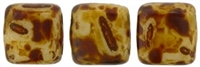 CzechMates Two Hole Tile 6mm - CZTWN06-T83529  - Ivory - Picasso - 25 Beads