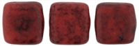 CzechMates Two Hole Tile 6mm Opaque Red - Black Picasso 25 Beads