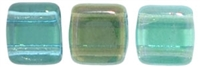 CzechMates Two Hole Tile 6mm - CZTWN06-W6002 - Twighlight - Aquamarine - 25 Beads