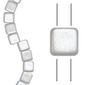 Czech Two Hole Tile 6mm - CZTWN06-WHT - Airy Pearl White - 25 Beads