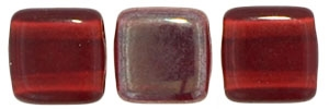 Two Hole Tile 6mm Celsian Siam Ruby 25 Bead Strand