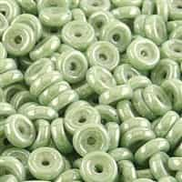 CZWB-03000-14457 - 6mm Wheel Bead Chalk Light Green Luster - 25 Count