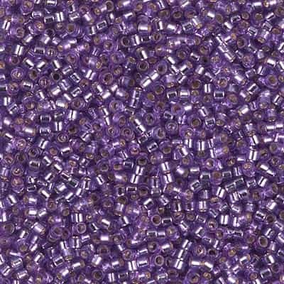 Miyuki Delica Seed Beads 5g 11/0 DB2168 Duracoat Silver Lined Dyed Medium Silver Grape