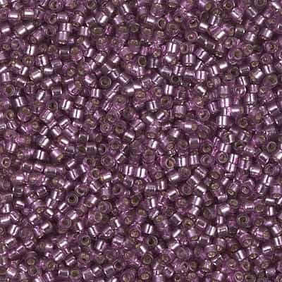 Miyuki Delica Seed Beads 5g 11/0 DB2169 Duracoat Silver Lined Dyed Purple Silver Plum