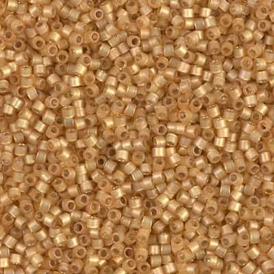 Miyuki Delica Seed Beads 5g 11/0 DB2171 Duracoat Silver Lined Matte Dyed Butterscotch
