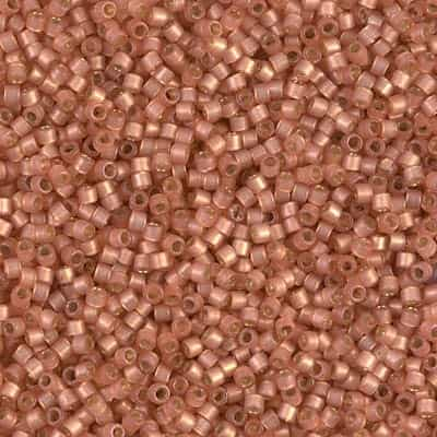 Miyuki Delica Seed Beads 5g 11/0 DB2172 Duracoat Silver Lined Matte Dyed Peach Puff