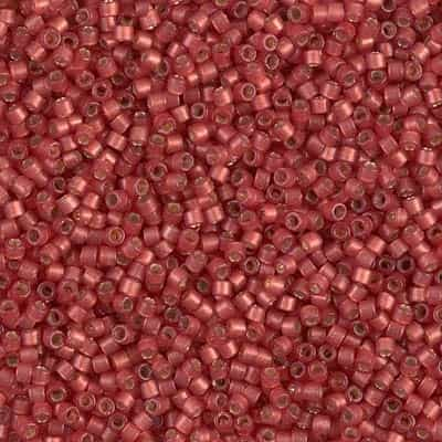 Miyuki Delica Seed Beads 5g 11/0 DB2173 Duracoat Silver Lined Matte Dyed Crimson