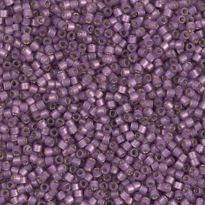 Miyuki Delica Seed Beads 5g 11/0 DB2182 Duracoat Silver Lined Matte Dyed Purple Plum