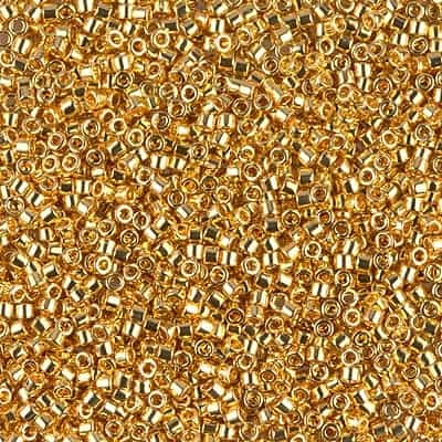 Miyuki Delica Seed Beads 1g 11/0 DB0031 24 KT Gold Plated