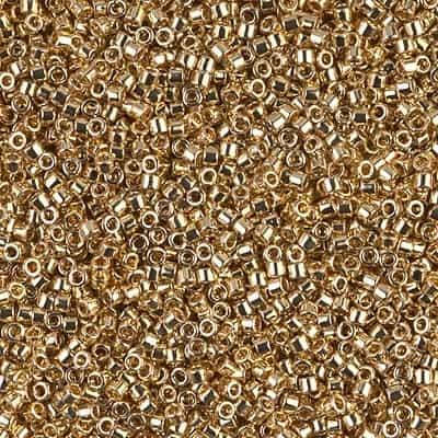 Miyuki Delica Seed Beads 1g 11/0 DB0034 M 24 KT Lt Gold Plated