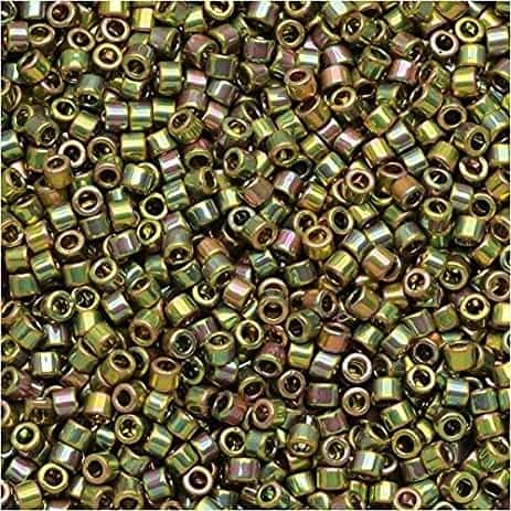 Miyuki Delica Seed Beads 1g 11/0 DB0508 24 Kt Lt Green Gold Plated