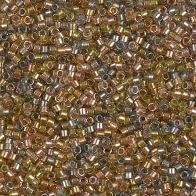 Miyuki Delica Seed Beads 5g 11/0 DB0981 ICL* Taupe/Amber Mix