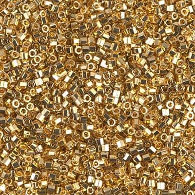 Miyuki Delica Seed Beads 1g DBH0031 HEX 24 Kt Gold Plated